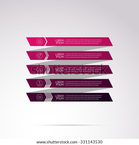 Modern Design Infographic with icons and numbered stripes template, pink - purple gradient on light background - stock vector