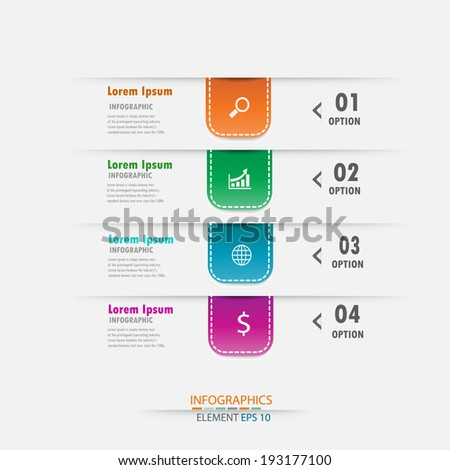 Modern design infographics template.  can be used for workflow layout / numbered banners / step up option / graphic or website layout vector  - stock vector