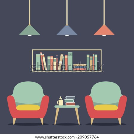 Modern Design Interior Chairs and Bookshelf - stock vector