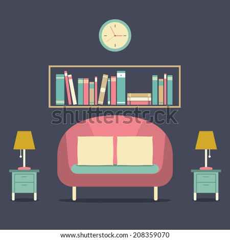 Modern Design Interior Sofa and Bookshelf - stock vector