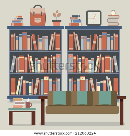 Abstract Books Shelf On Blue Background Stock Vector