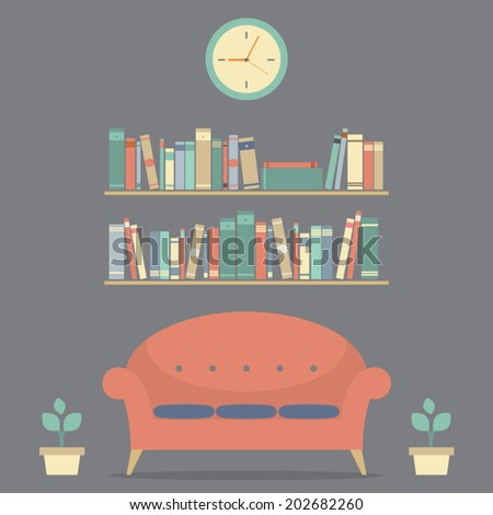 Modern Design Interior Sofa And Bookshelves  - stock vector