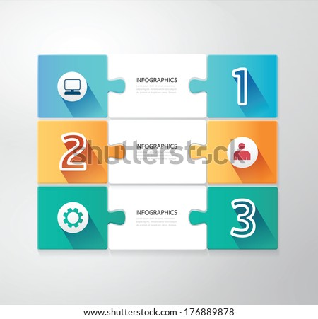 Modern Design jigsaw style infographic template vector - stock vector