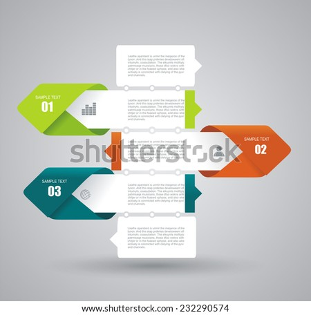 Modern Design Layout - vector paper progress steps - stock vector