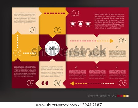 Modern design speech  diagram for infographic. Vector numbered banners template in warm colors.
