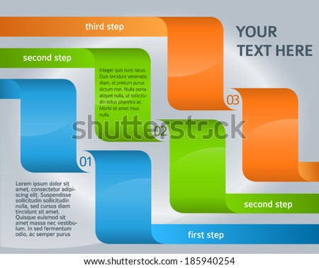 Modern Design style info-graphic template on steel background. Vector illustration eps 10 can be used for numbered banners /  newsletter layout / web presentation / cover page magazine