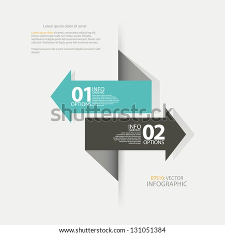 Modern Design template arrow, used for : infographics, numbered banners, horizontal cutout lines, graphic or website layout vector - stock vector