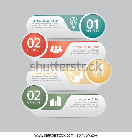 Modern design template, can be used for infographics, numbered banners. - stock vector