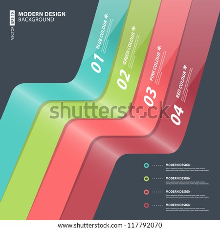Modern Design template / can be used for infographics / numbered banners / horizontal cutout lines / graphic or website layout - stock vector