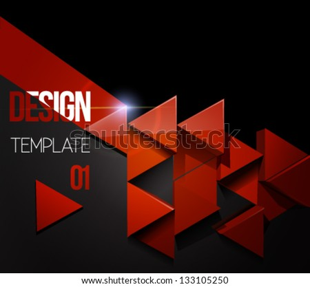 Modern design template / 3D vector art / suitable for graphic, web design / can be used for infographics / red triangles - stock vector