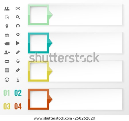 Modern design template for info graphics with set of icons - vector illustration - stock vector