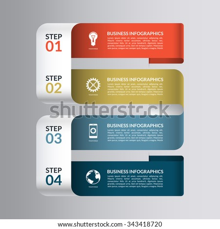 Modern design template for infographics. Numbered banner for web, diagram, graphic layout, chart, presentation. 4 steps, parts, options, stages. Vector background - stock vector