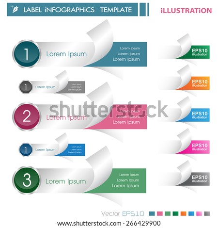 Modern Design template ILLUSTRATION  EPS10 Format / can be used for infographics / numbered banners / horizontal cutout lines / graphic or website layout vector /horizontal Label  - stock vector