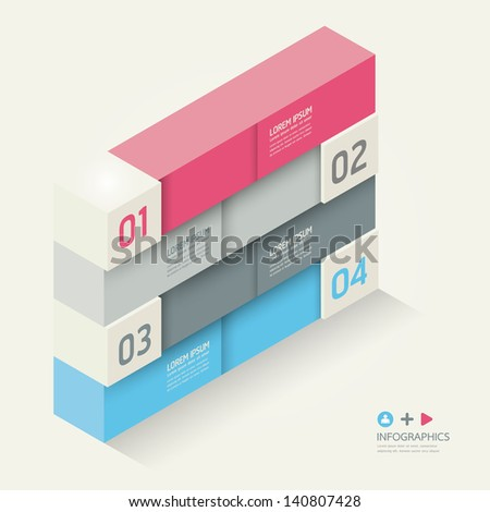Modern Design template isometric style/ can be used for infographics / numbered banners / horizontal cutout lines / graphic or website layout vector - stock vector