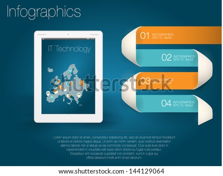 Modern design template numbered banners with tablet and map of America. Infographics. - stock vector