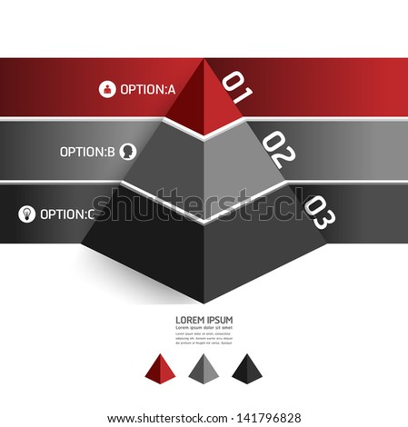 Modern Design template pyramid style/ can be used for infographics / numbered banners / horizontal cutout lines / graphic or website layout vector - stock vector