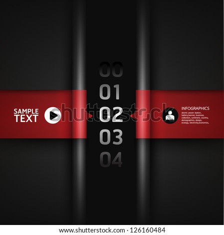 Modern Design template red colour / can be used for infographics / numbered banners / horizontal cutout lines / graphic or website layout vector - stock vector