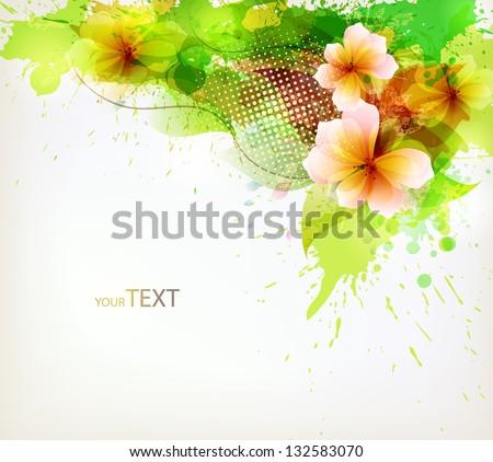 Modern Design template with floral design elements . Vector illustration - stock vector