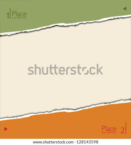 Modern Design template with torn paper - stock vector