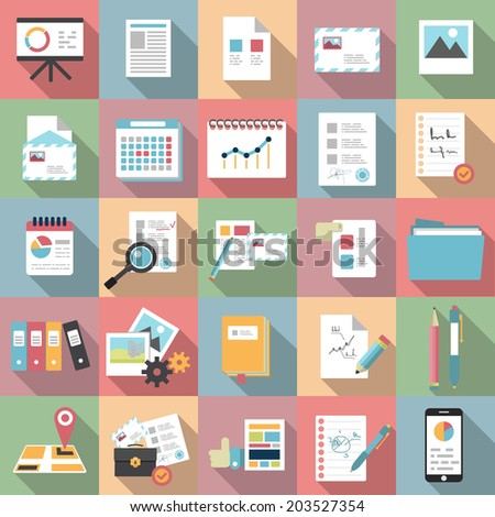 Modern design vector flat icon set. Long shadow style of financial service items, business management symbol, documents, mails. - stock vector