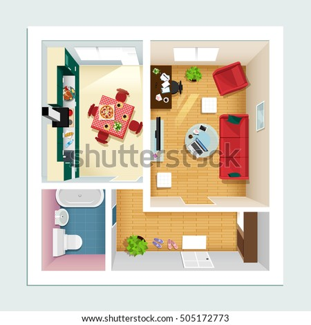 Floorplan stock images royalty free images vectors for Kitchen plan view