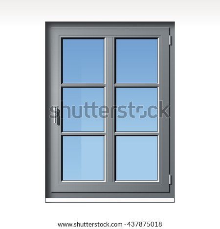 modern detailed gray vector window illustration with glass bars - stock vector