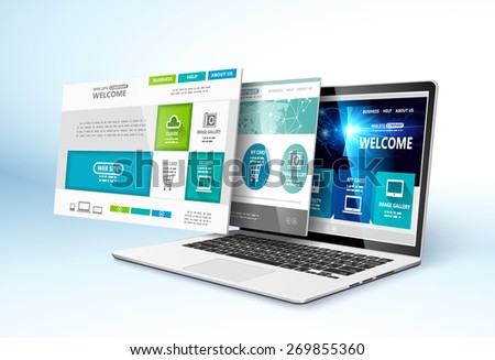 Modern device with web design template. Vector illustration