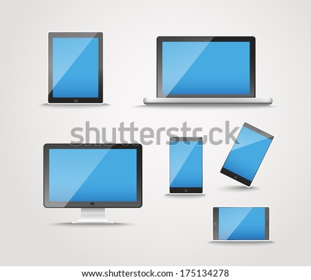 Modern digital device collection. Gadgets with blank screen template - stock vector