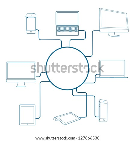 Modern Digital devices. Conceptual vector illustration - stock vector