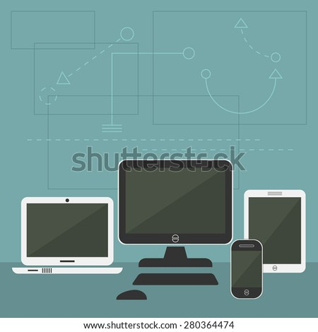 Modern Digital Devices - Tablet, cellphone, monitor, and laptop with graphical shapes background - stock vector