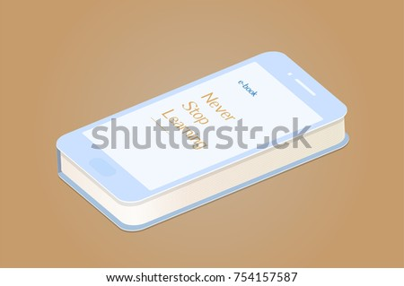 Modern digital icon of e-book in smart phone that is a paper book at the same time, metaphor of mixing future and past