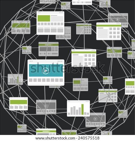 Modern digital media environment - stock vector
