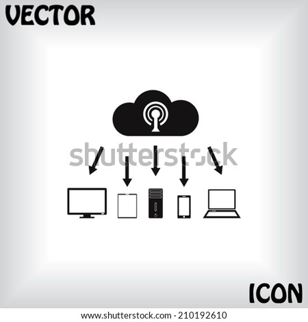 Modern digital tablet PC with mobile smartphone icon, vector illustration. Flat design style