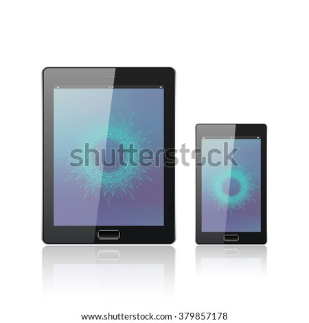 Modern digital tablet PC with mobile smartphone isolated  on the white. Molecule and communication background. Connected dots and lines. Science and tecnology concept. Vector Illustration. - stock vector