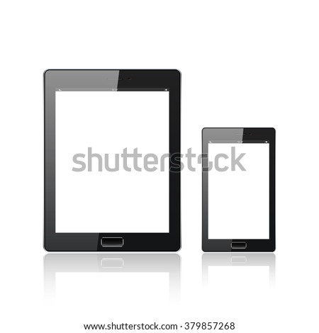 Modern digital tablet PC with mobile smartphone isolated  on the white. Science and tecnology concept. Vector Illustration. - stock vector