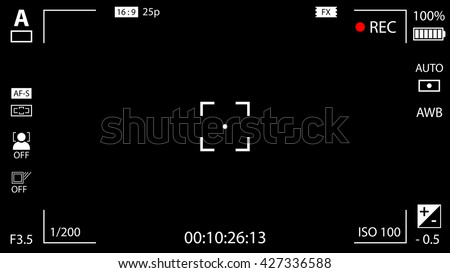 Modern digital video camera focusing screen with settings. Black viewfinder camera recording. Vector illustration - stock vector