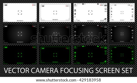 Modern digital video camera focusing screen with settings 12 in 1 pack. White, black and green viewfinders camera recording. Vector illustration - stock vector