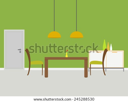 Modern dining room with green wall and door