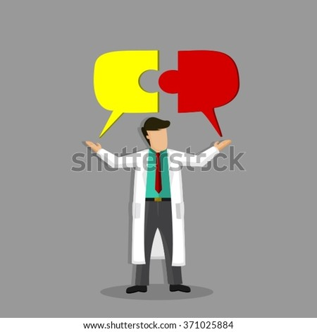 Modern Doctor Holding Hovering Puzzle Pieces For Successful Dialog Over His Head - stock vector