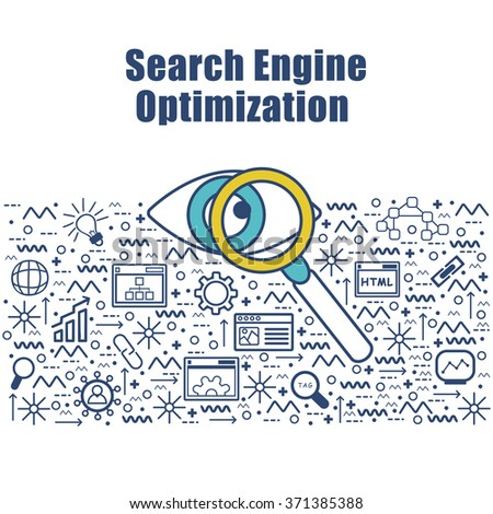 Modern Doodle style illustration of Search Engine Optimization.Line art style design for Web Banner, Printed or Promotional Materials. - stock vector