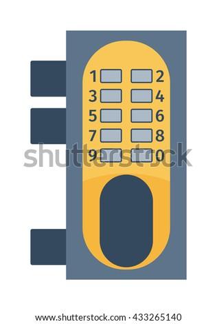 Modern door lock, contemporary satin handle door lock and keyhole detail door lock vector icon. Door lock house safety and protection entrance access open handle keyhole. Interior steel secure design. - stock vector