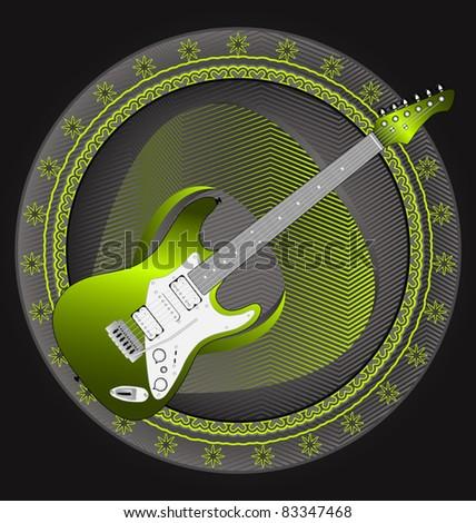 Modern dynamic music designed vector emblem. Guitar. - stock vector