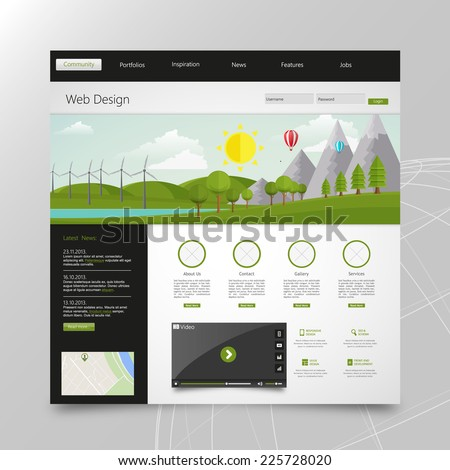 Modern Eco website template with flat eco landscape illustration