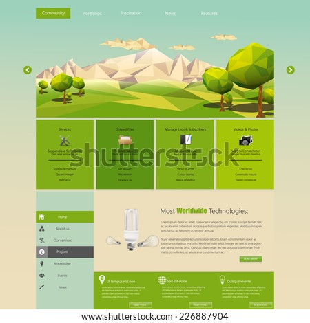 Modern Eco website template with flat eco landscape illustration  - stock vector