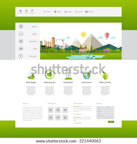 Modern Eco Website Template Flat Eco Stock Vector 321440063 ...