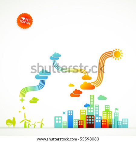 modern ecological town illustration - stock vector