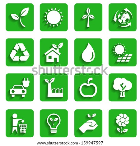 Modern Ecology Icons with Shadow