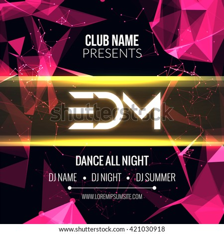 Modern EDM Music Party Template, Dance Party Flyer, brochure. Night Party Club Banner Poster - stock vector