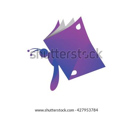 Modern Education Logo - Purple Book Wasp Symbol - stock vector