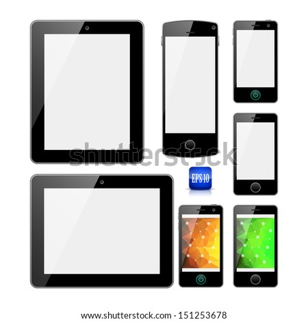 Modern electronic devices with white, and polygonal shiny screens isolated on white background. Tablets and mobile phones (smartphones). Eps10 file with transparency. - stock vector